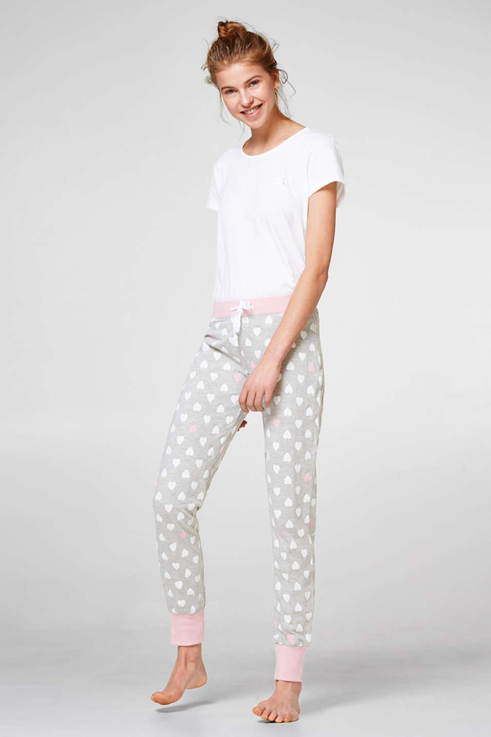 Soft trousers with a heart print