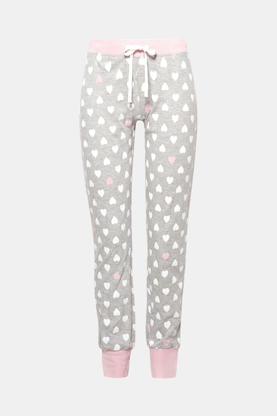 These trousers with an all-over heart print and ribbed cuffs have the making of a favourite piece.