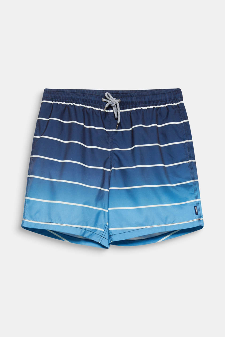 The graduated colours and classic, clean stripes give these loose cut swim shorts their great look!