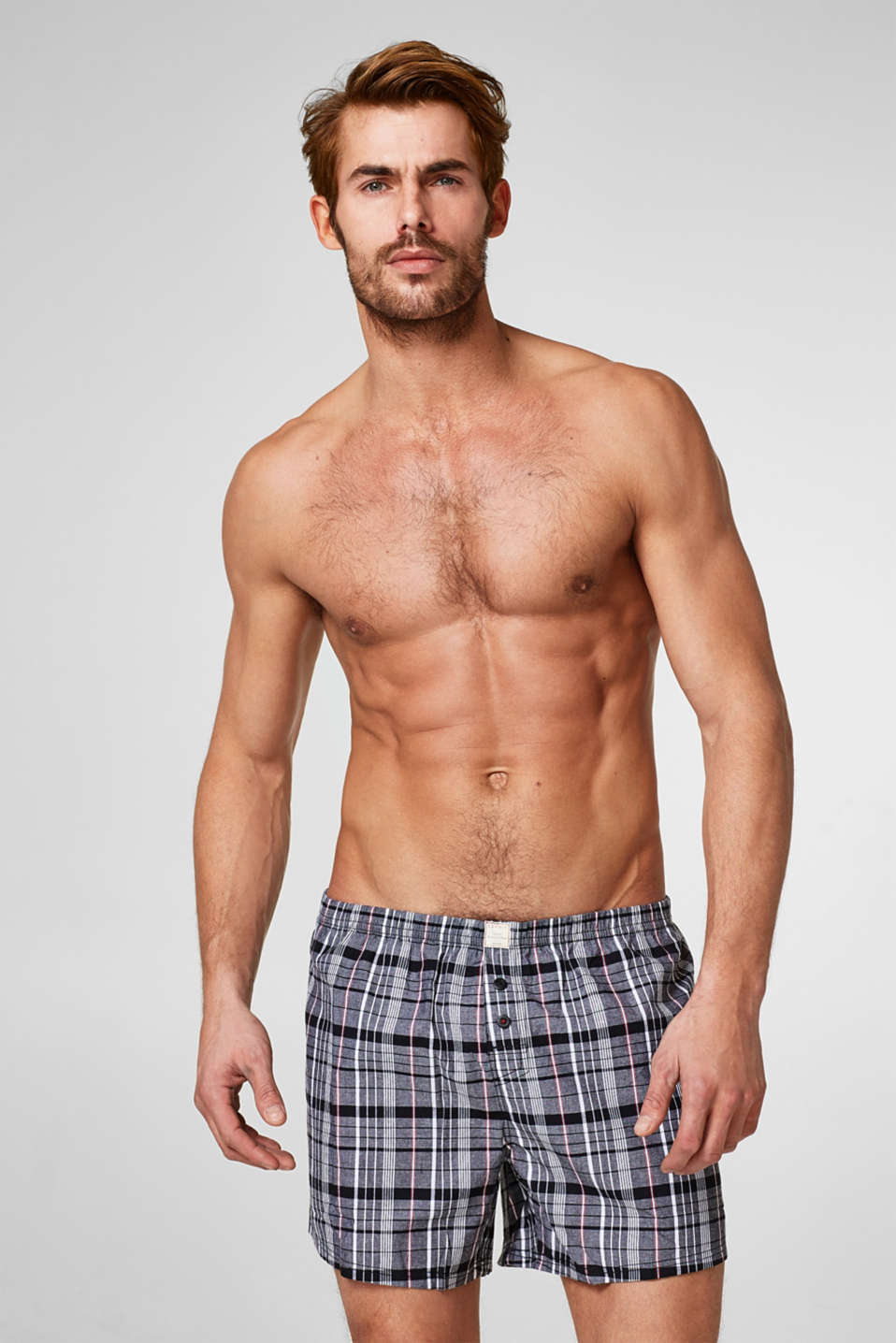 Esprit - Double pack of checked shorts, 100% cotton