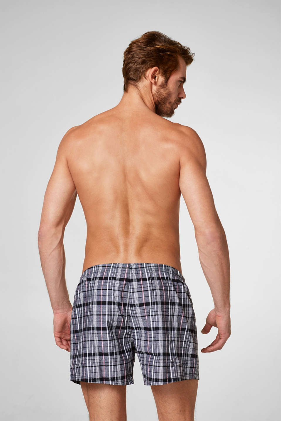 Double pack of checked shorts, 100% cotton