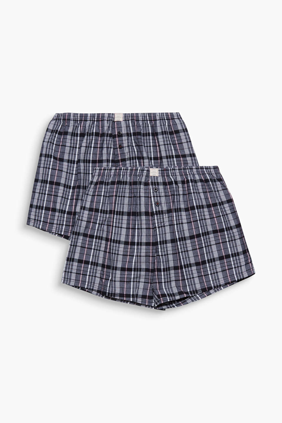 These smooth woven cotton shorts with a stylish check pattern are casual and comfortable.