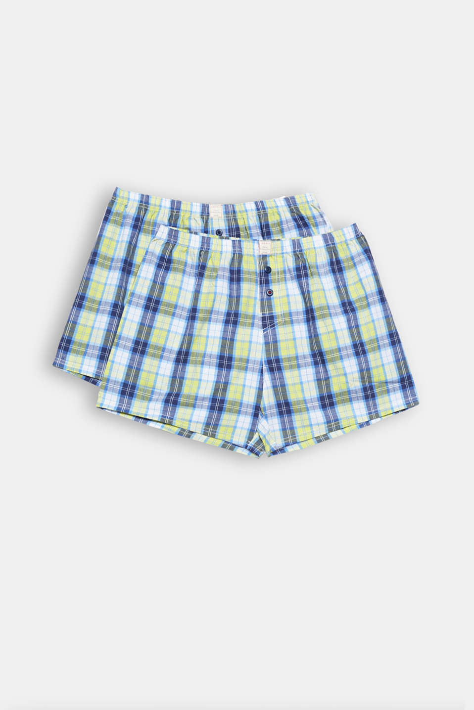 Trendy check on smooth cotton fabric - this winning combo makes these woven shorts truly lustworthy! So, perfect in a double pack!