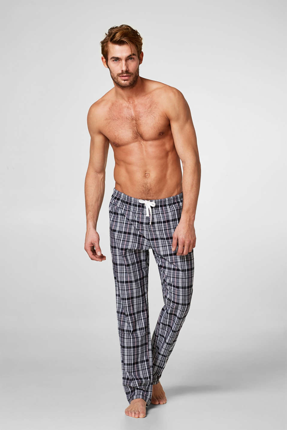 Esprit - Woven check pyjama bottoms, 100% cotton