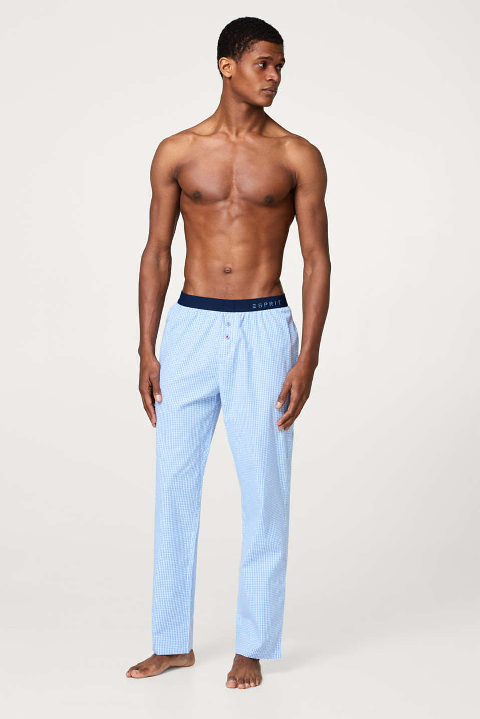 Esprit - Lightweight pyjama bottoms with a gingham check pattern, 100% cotton