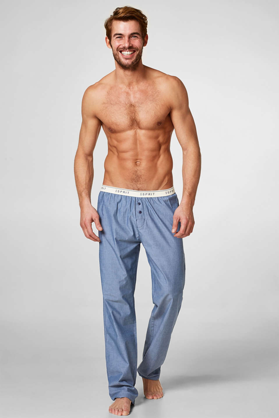 Esprit - Pyjama trousers in cotton chambray
