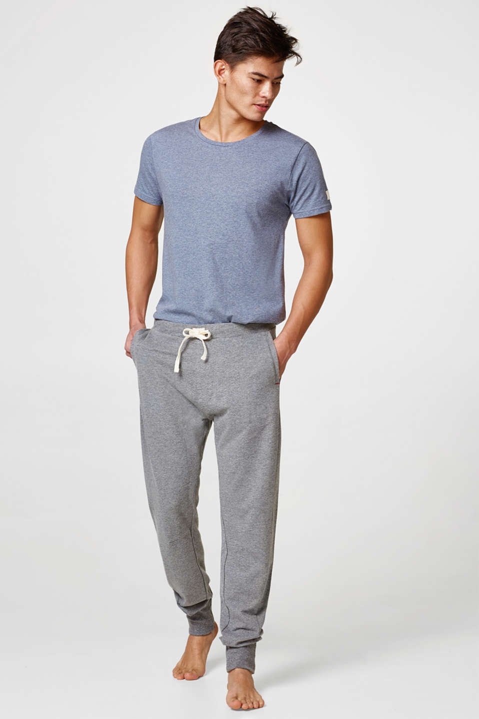 Esprit - Dense jersey trousers, cotton blend