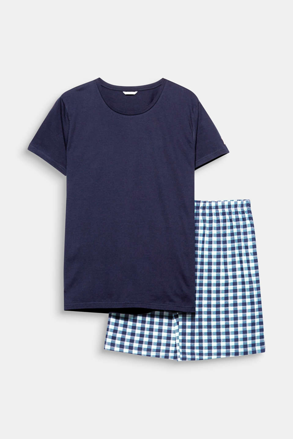 Fantastic worn as a set or combined individually: plain T-shirt and checked Bermudas made of pure cotton.