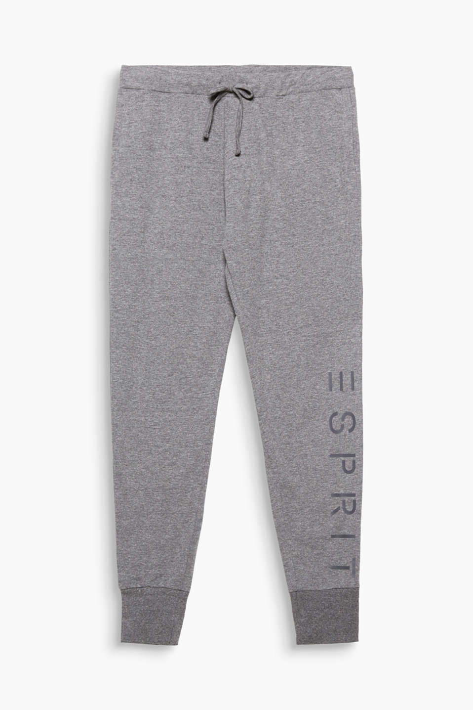 Make yourself comfortable with these lightweight jersey trousers in a modern, melange look with an authentic logo print!