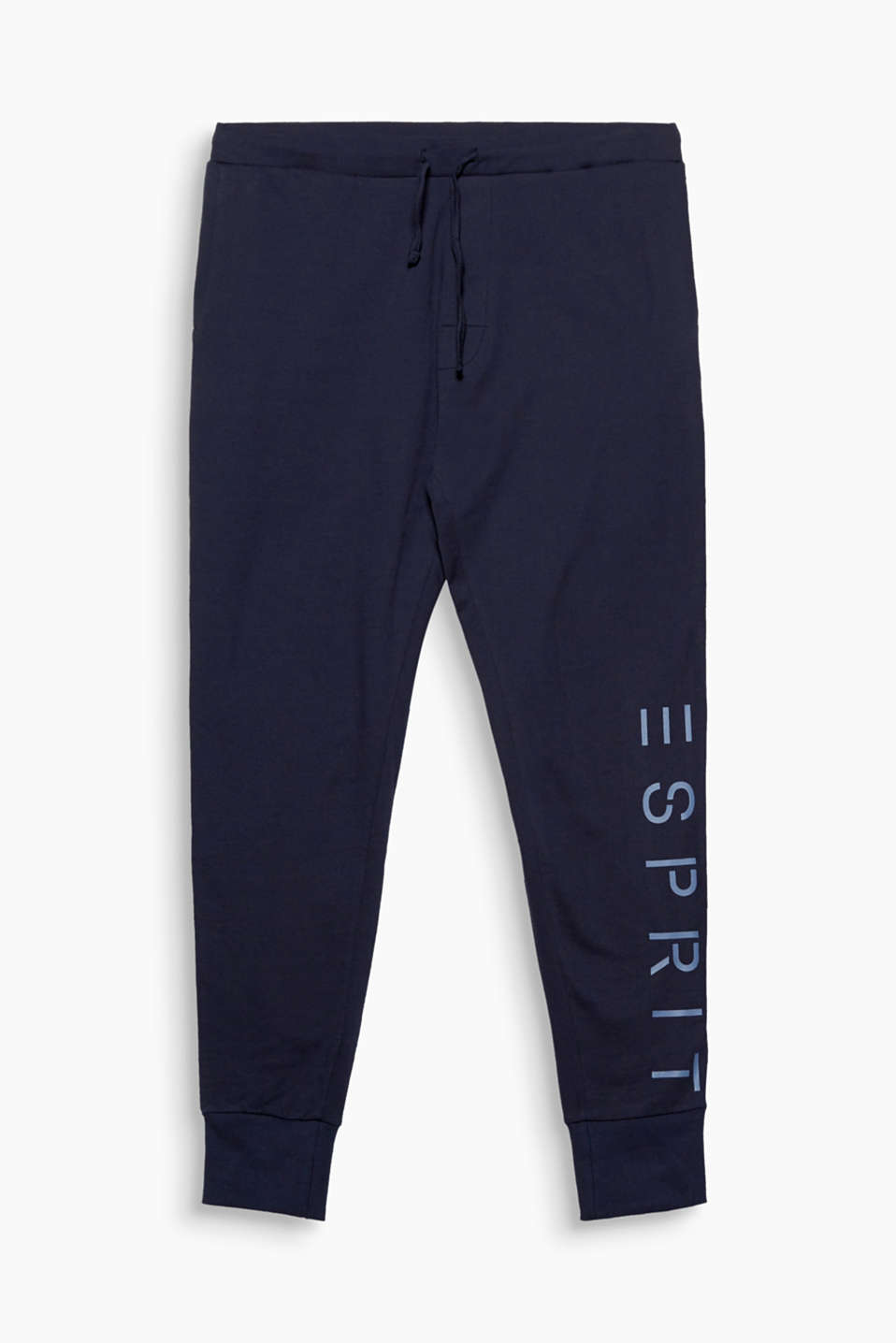 You are bound to feel good in these lightweight jersey trousers with a logo print and hem borders