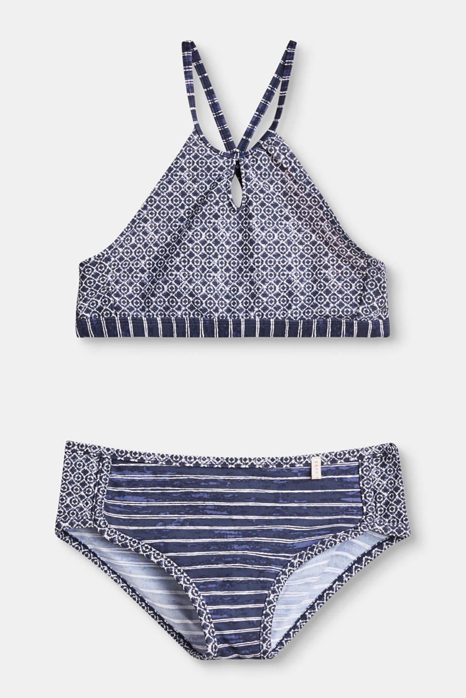 The mix of patterns featuring ornamental elements and uneven stripes makes this bikini extremely eye-catching.