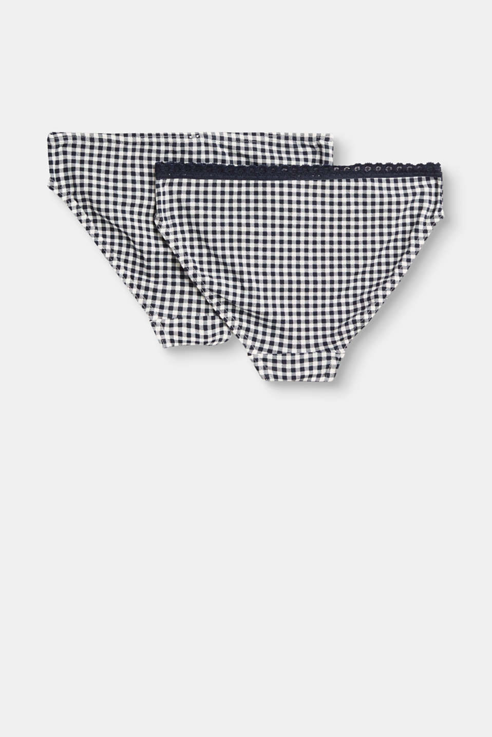 Double pack of check hipster briefs