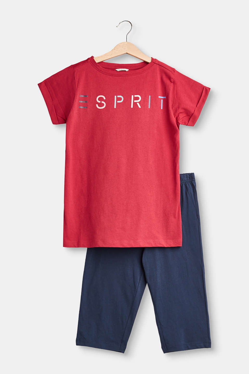 Esprit - Logo print pyjamas, 100% cotton