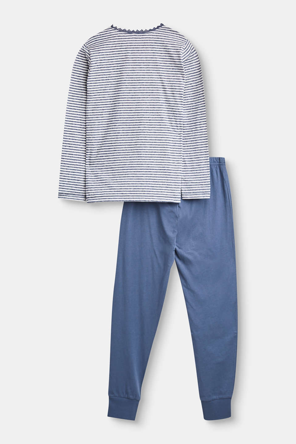 Striped pyjama set with a statement print