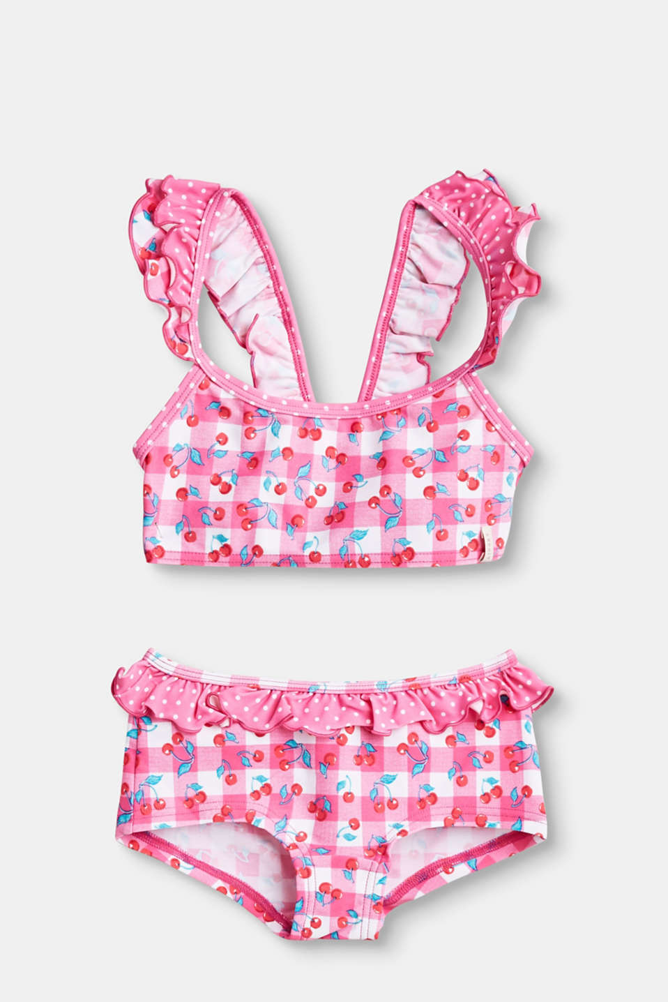 Esprit - Bikini with a check print and frills