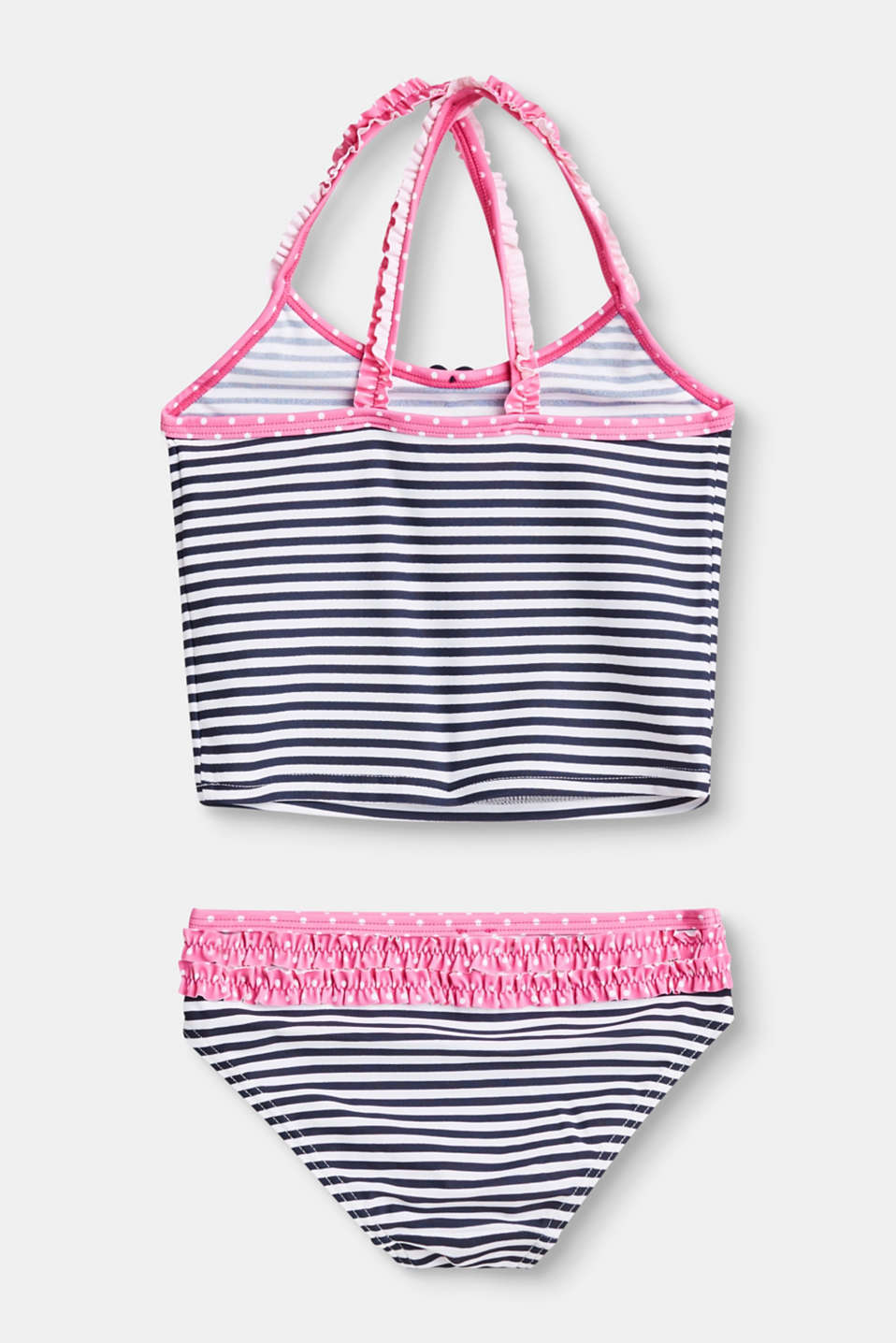 Striped tankini set with frilled straps