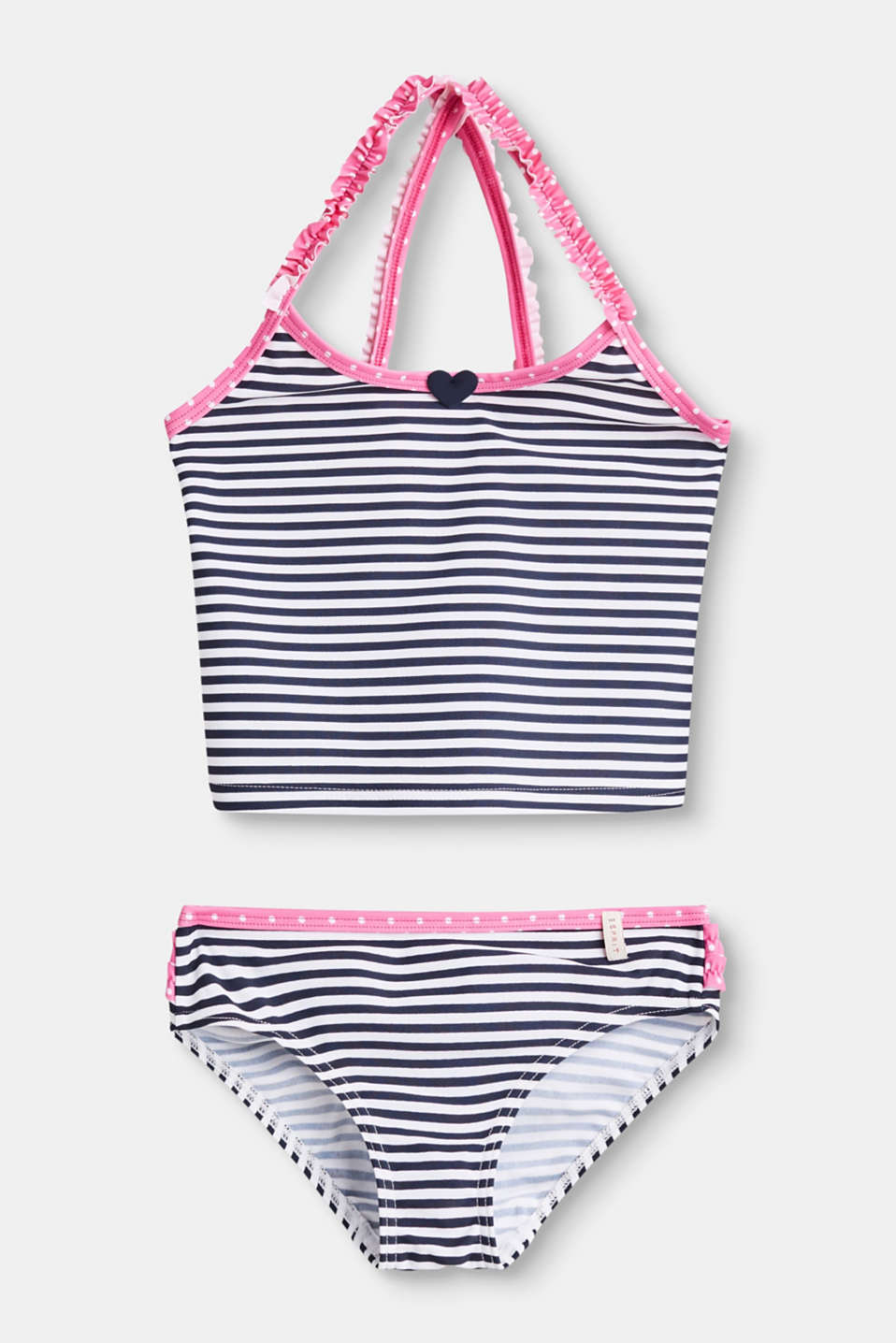 Esprit - Striped tankini set with frilled straps