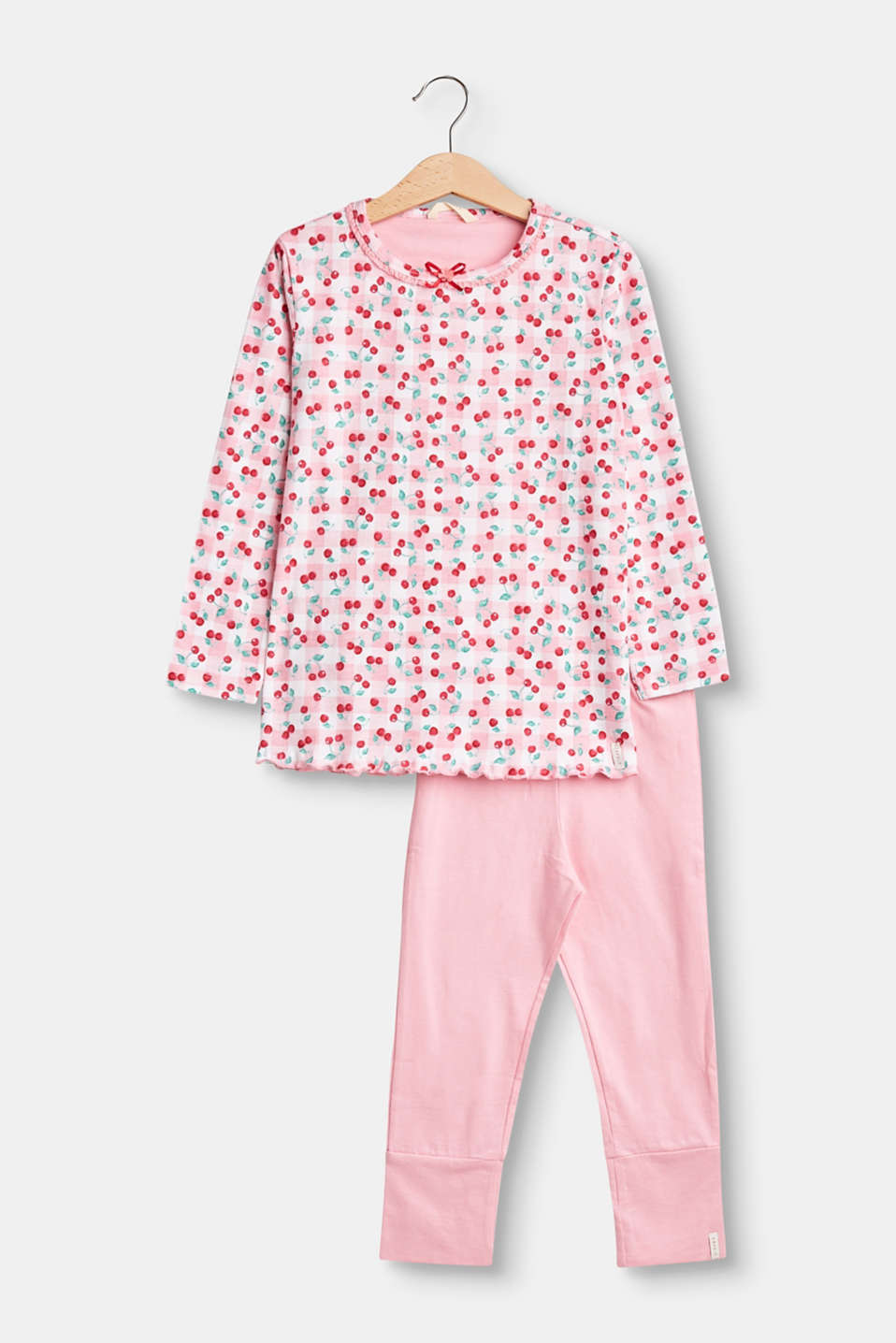 Fresh style for little girls! A cherry print adds eye-catching style to this pyjama set in 100% cotton.