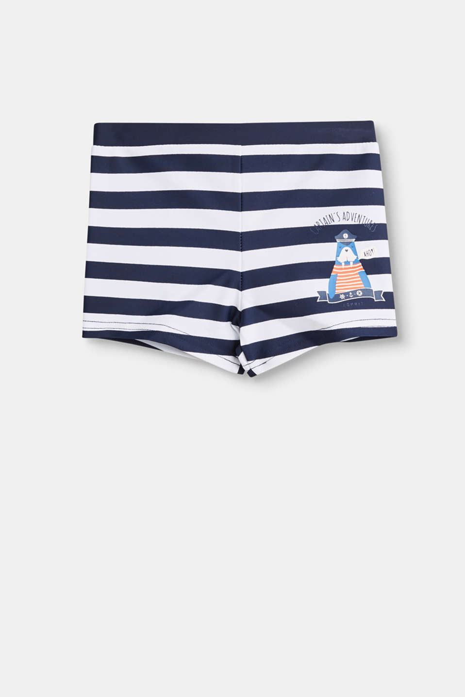Ahoy! These striped retro swim shorts with a seal print are just the thing for little swimmers