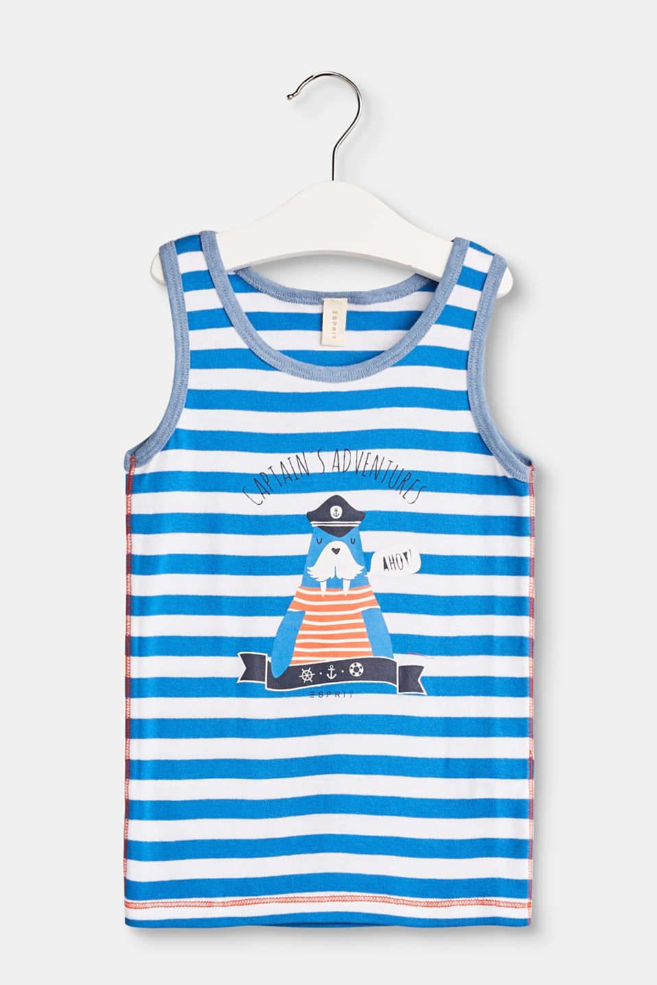 Ahoy! This striped cotton top with a seal print and tonal welts is just the thing for little explorers
