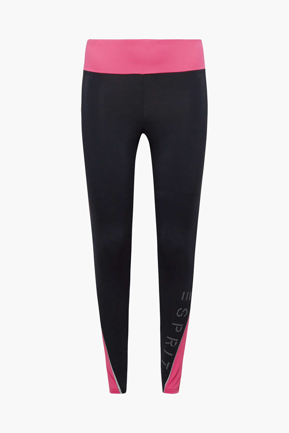 These active leggings with E-Dry technology, pink accents and a logo are perfect for all your sporting activities!