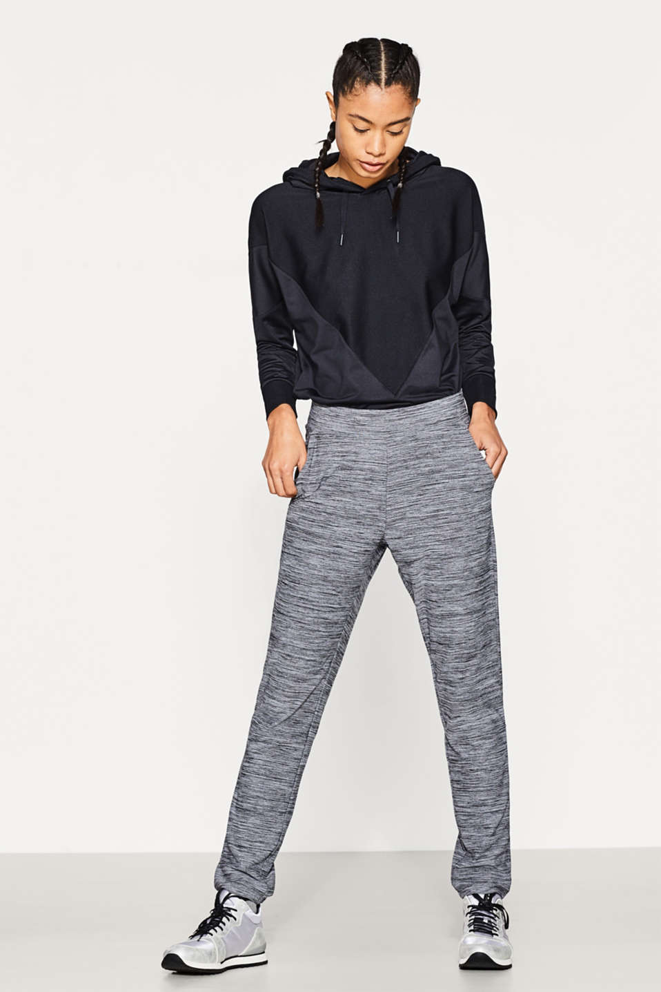 Esprit - Lockere Active-Pants in Melange, E-DRY