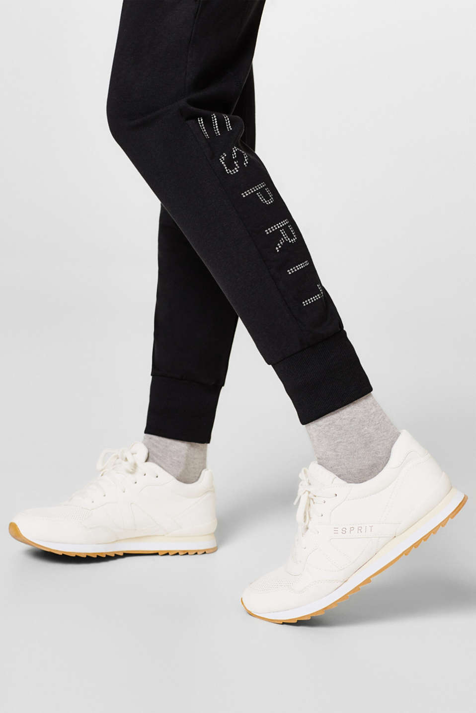 Stretch jersey trousers with a shiny logo