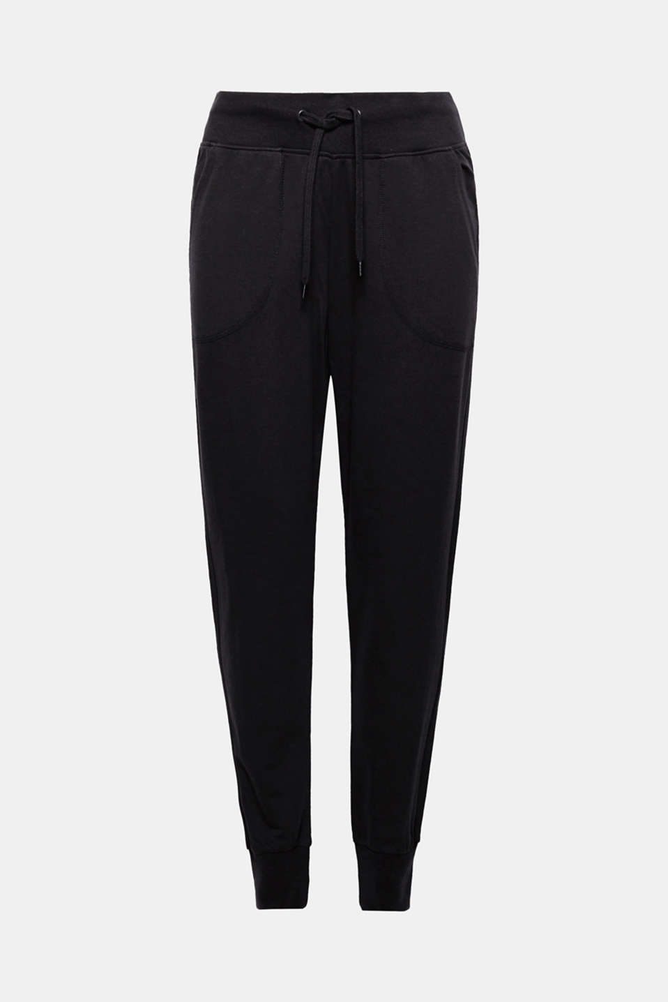 For sport or relaxing at home: The shiny logo print gives these jersey trousers with ribbed cuffs a special touch!