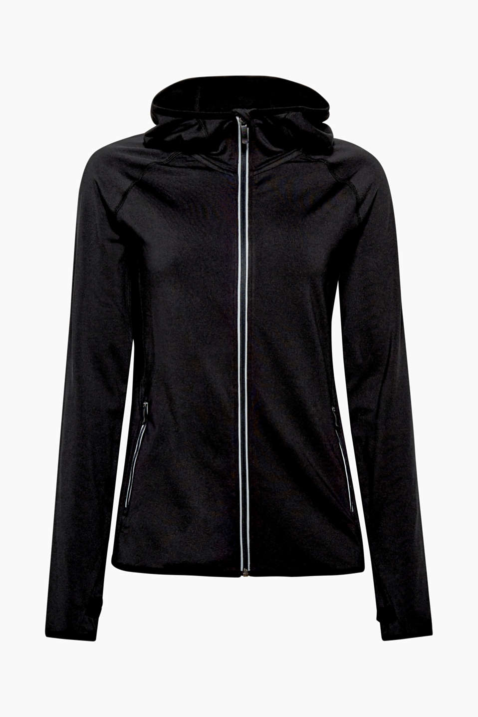 This fleece-lined hooded cardigan with an E-DRY finish is your go-to garment for all things sport.