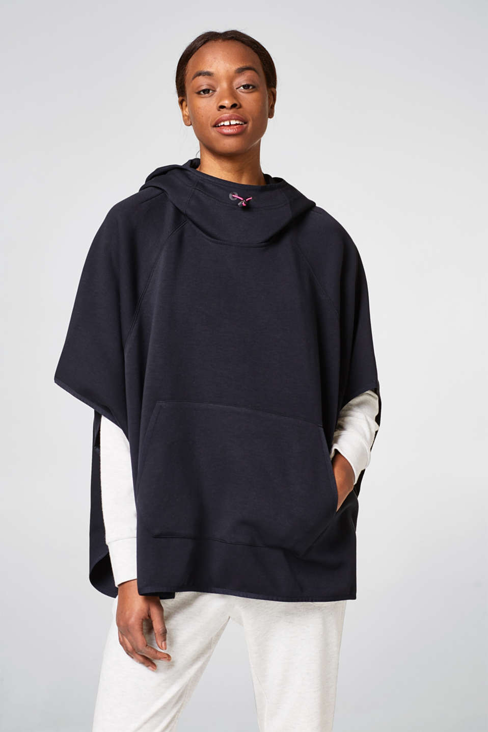 Esprit - Hooded cape in firm stretch jersey