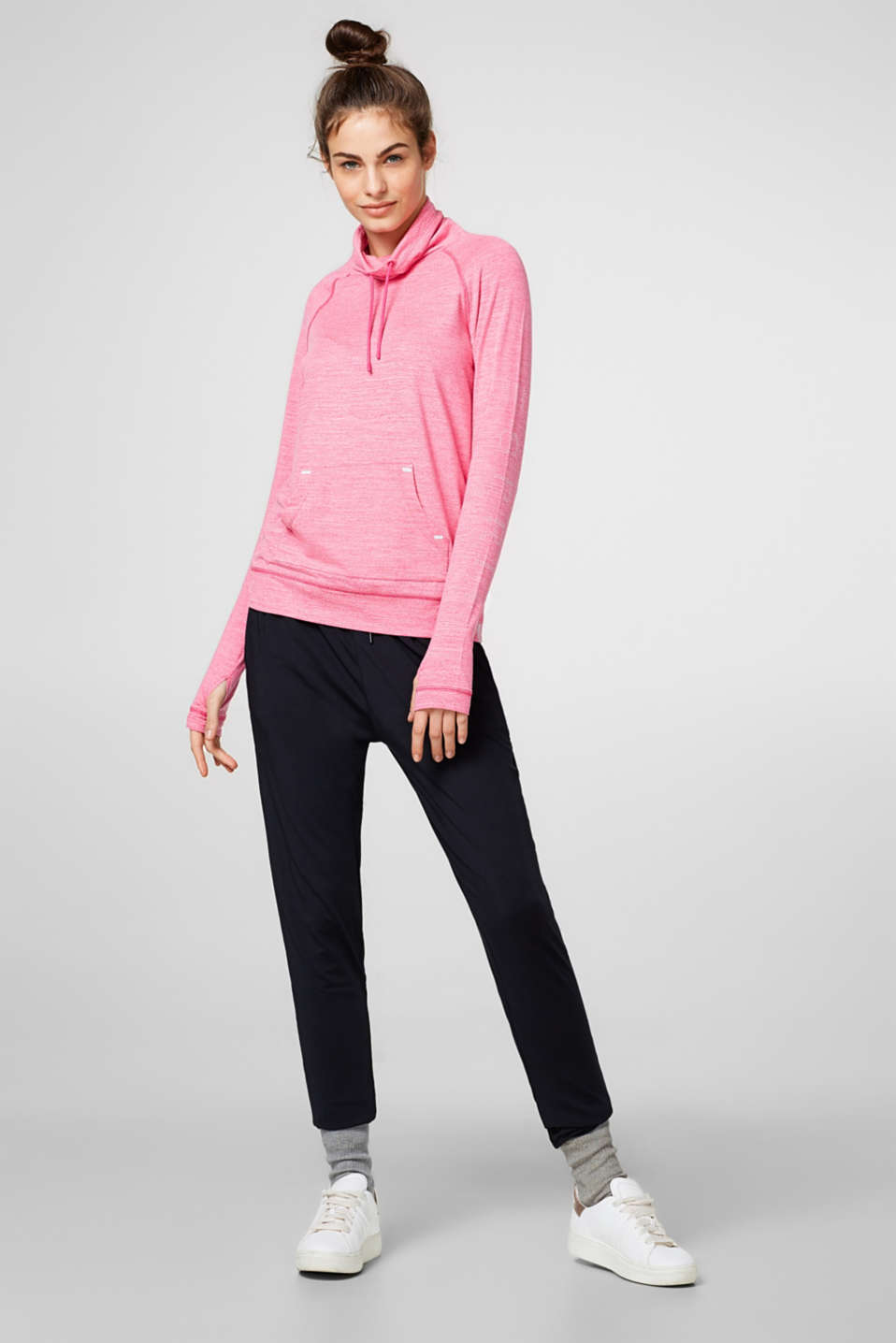 Esprit - Melange turtleneck long sleeve top, E-DRY