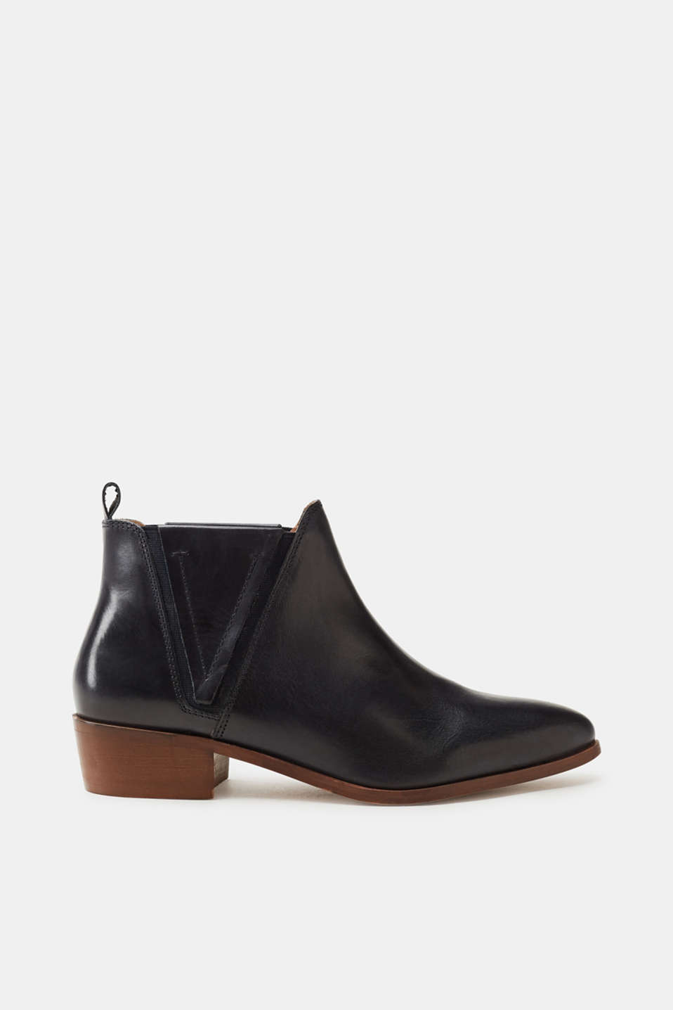 Esprit - Bottines pointues en cuir poli