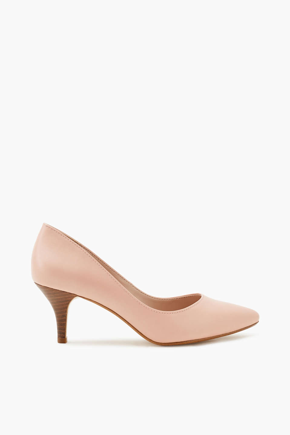 Esprit - Lace court shoes with a wood-look heel