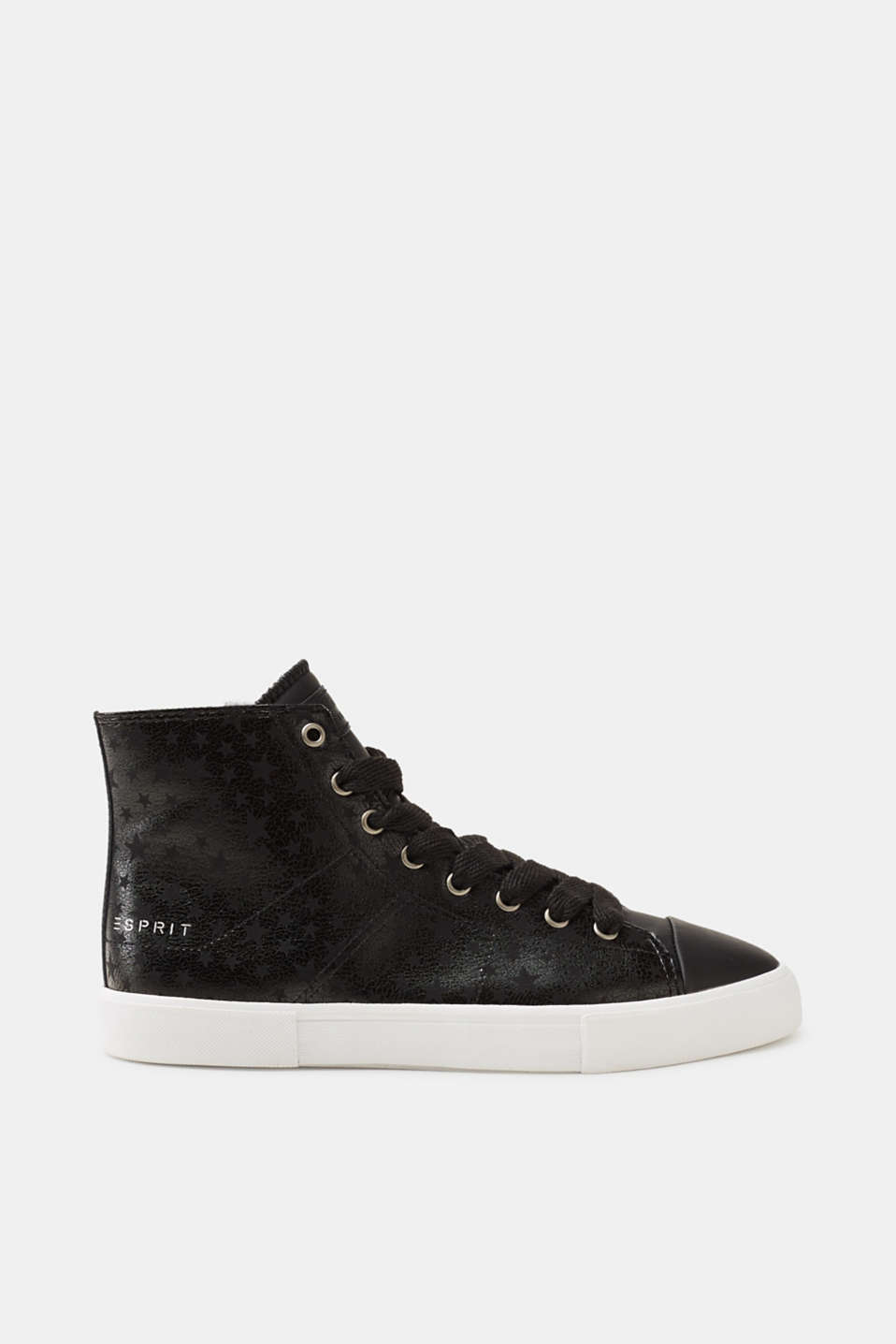 Trendy metallic look meets a shimmering star print: high-top trainers in smooth faux leather.