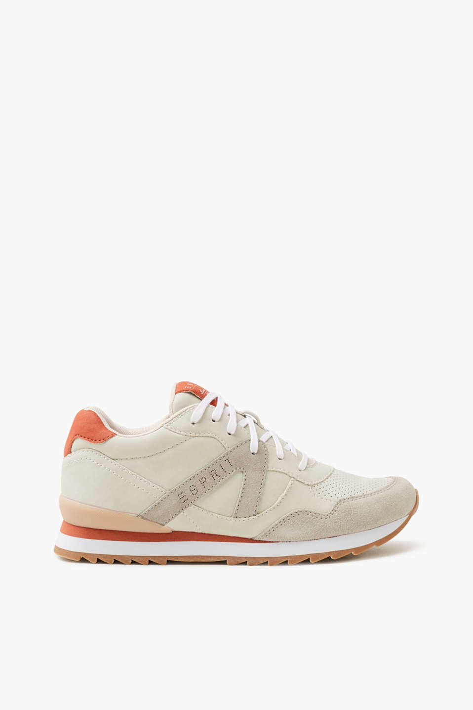 Esprit - Sporty lace-up trainers with a leather trim