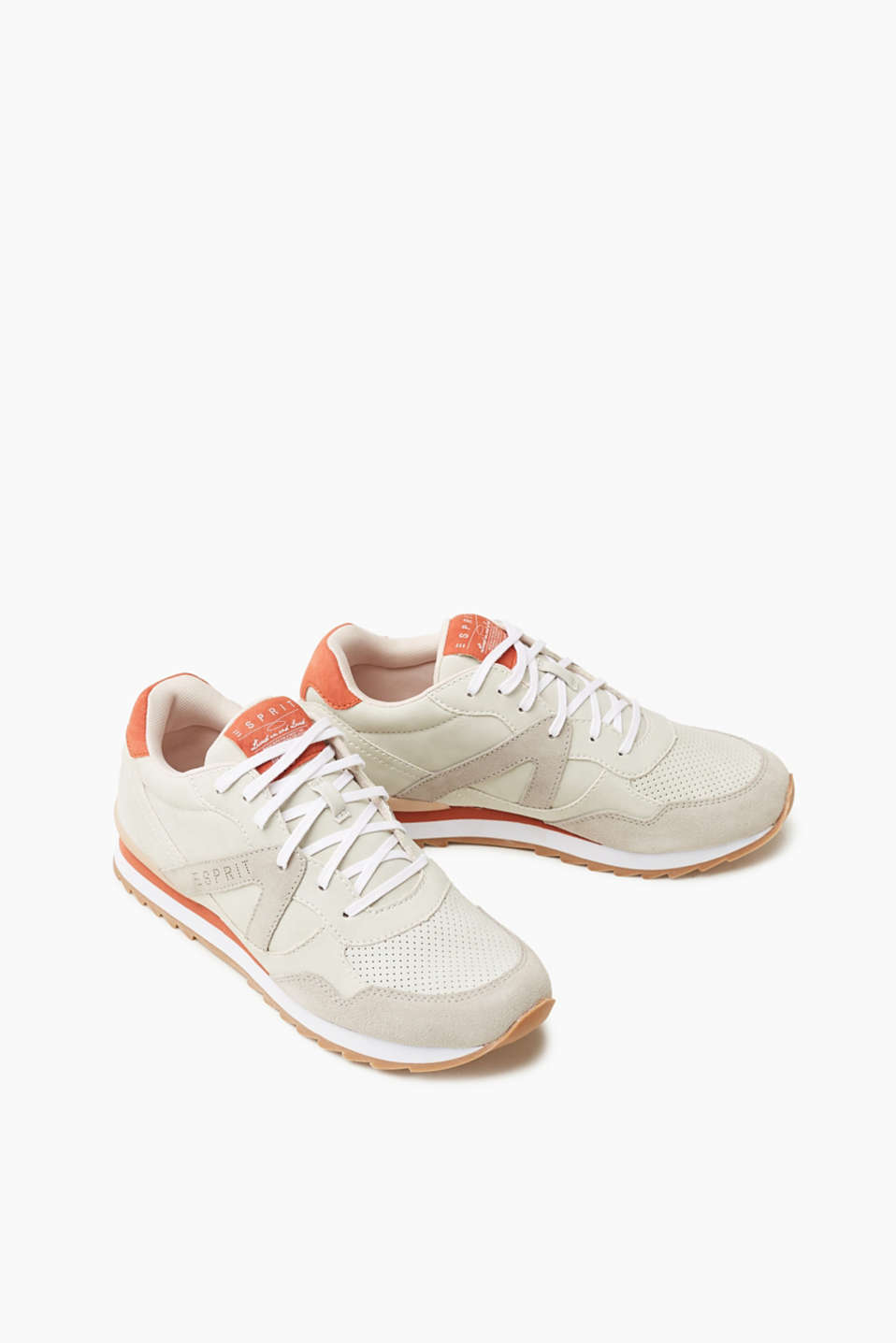 Sporty lace-up trainers with a leather trim
