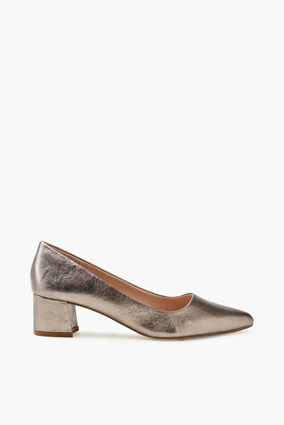 Esprit - Zeitloser Metallic-Pumps mit Blockabsatz