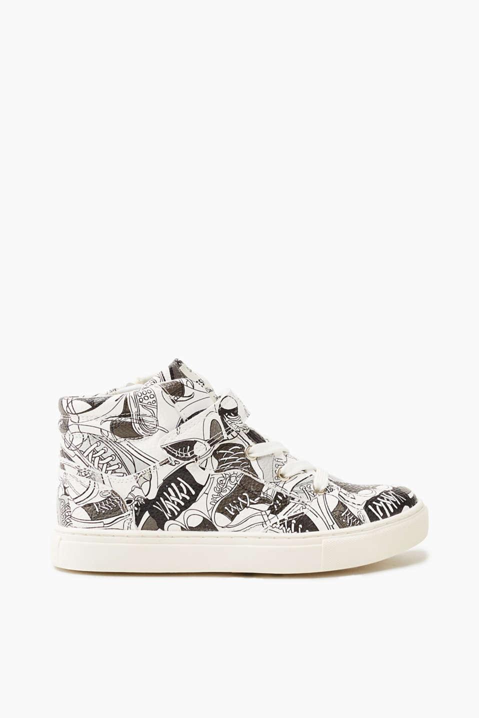 Esprit Sneaker in gemusterter Leder-Optik für Jungen, Größe 33, Off White