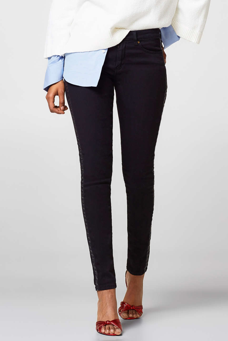Esprit - Stretch jeans with side stripes