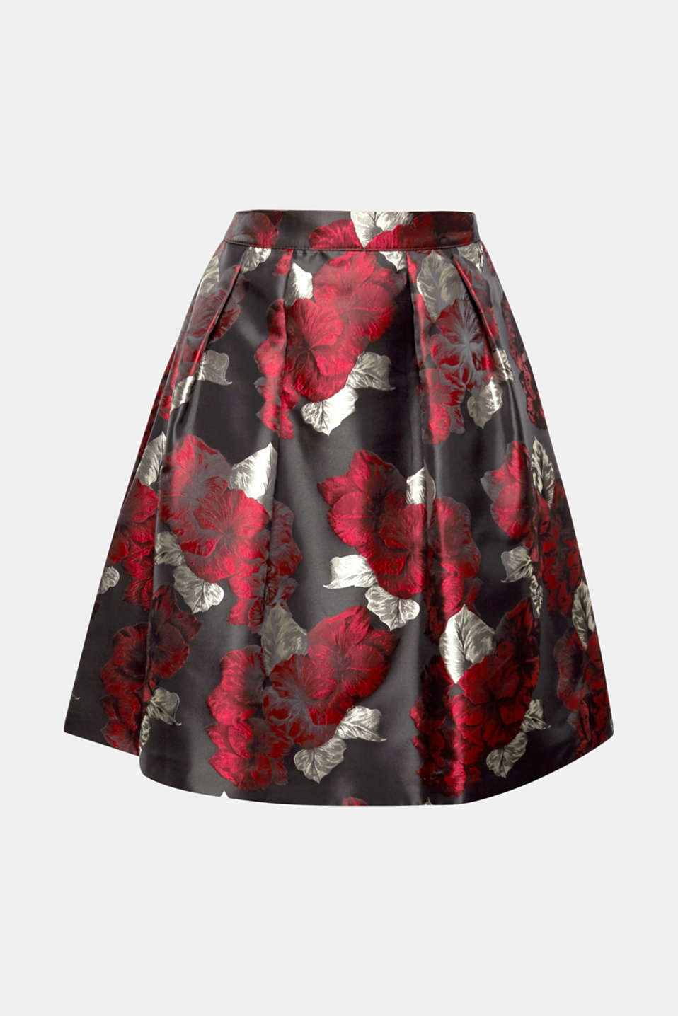A floral pattern and shimmering finish make this A-line skirt a head-turning piece.