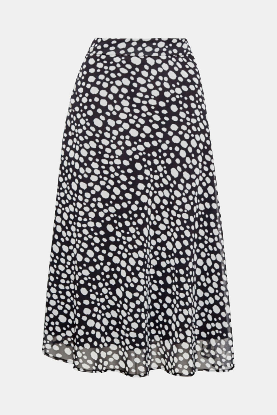 This swirling chiffon midi skirt with an uneven polka dot pattern oozes trendy femininity!