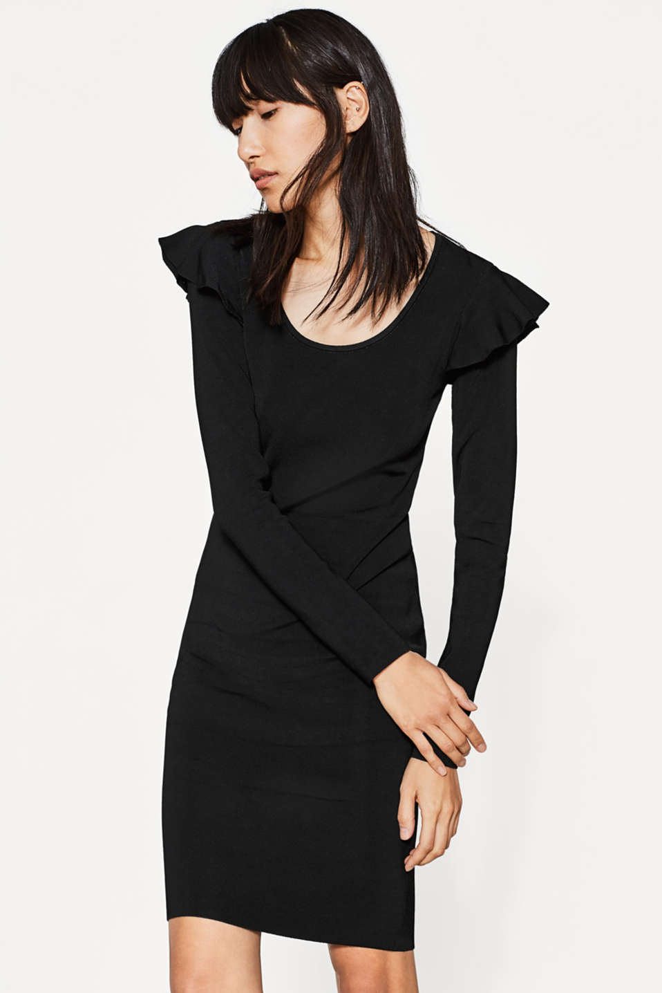 Esprit - Frilled knit dress with shaping effect