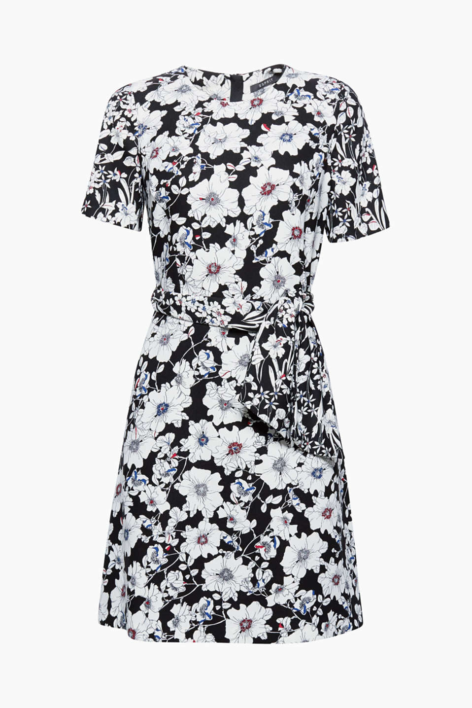 This crêpe dress with a wide tie-around belt and a swirling skirt boasts flower power in an elegant look.
