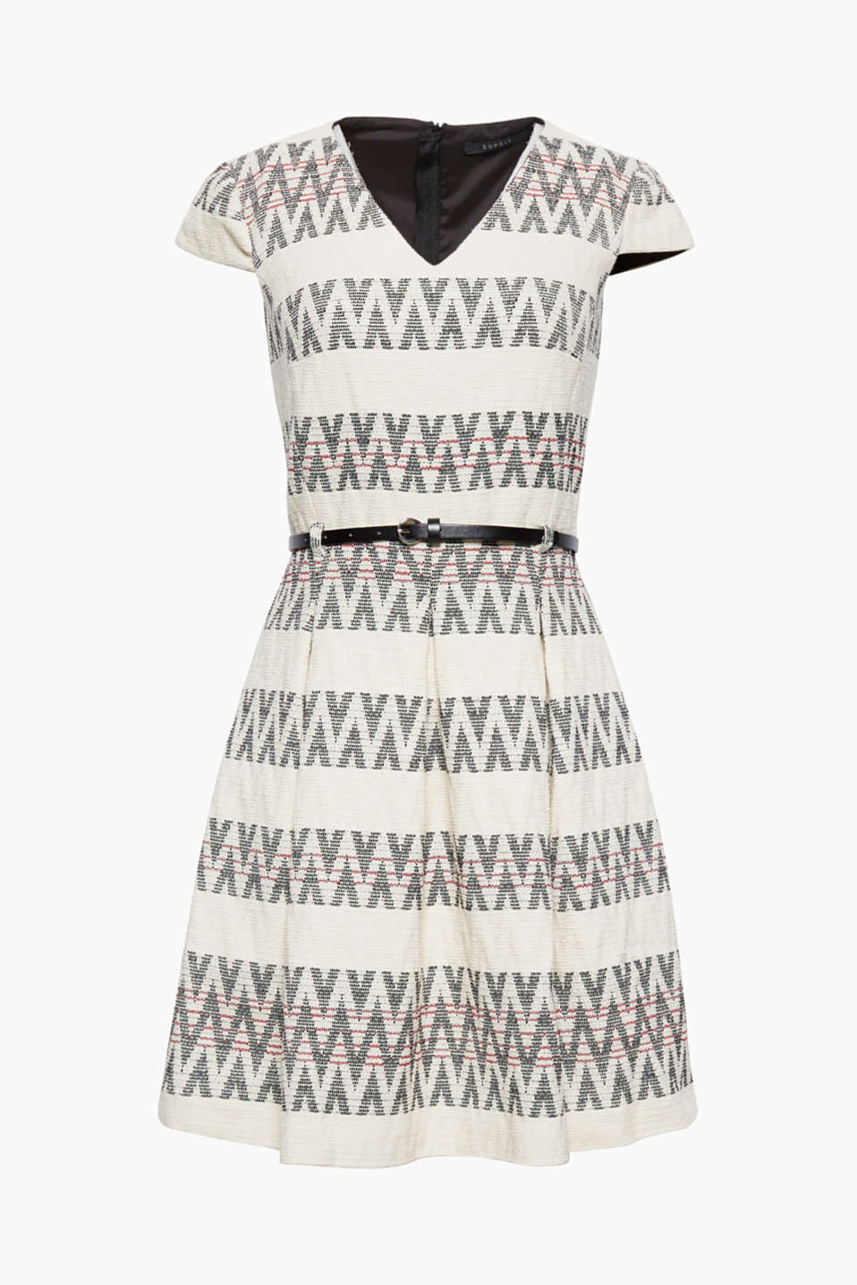 This dress in soft blended cotton with a zigzag pattern and a narrow belt can be worn as part of a chic or cheeky style!
