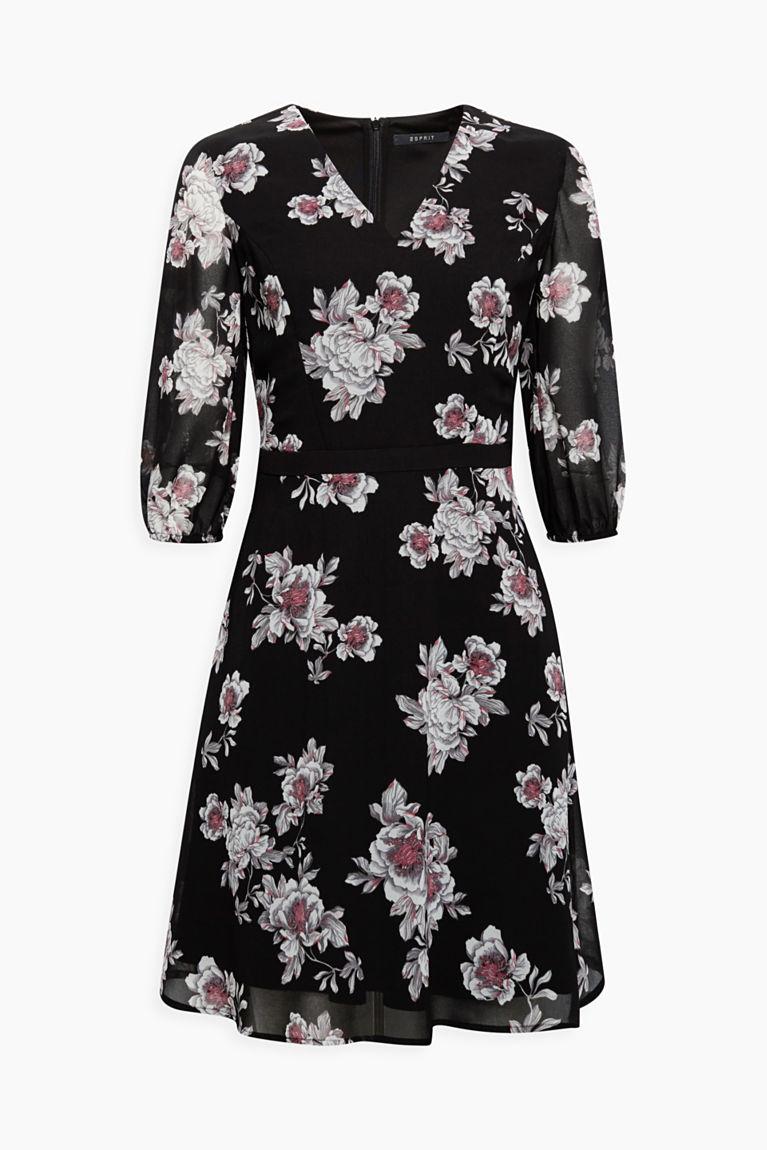 Chiffon-Kleid mit Blumen-Print