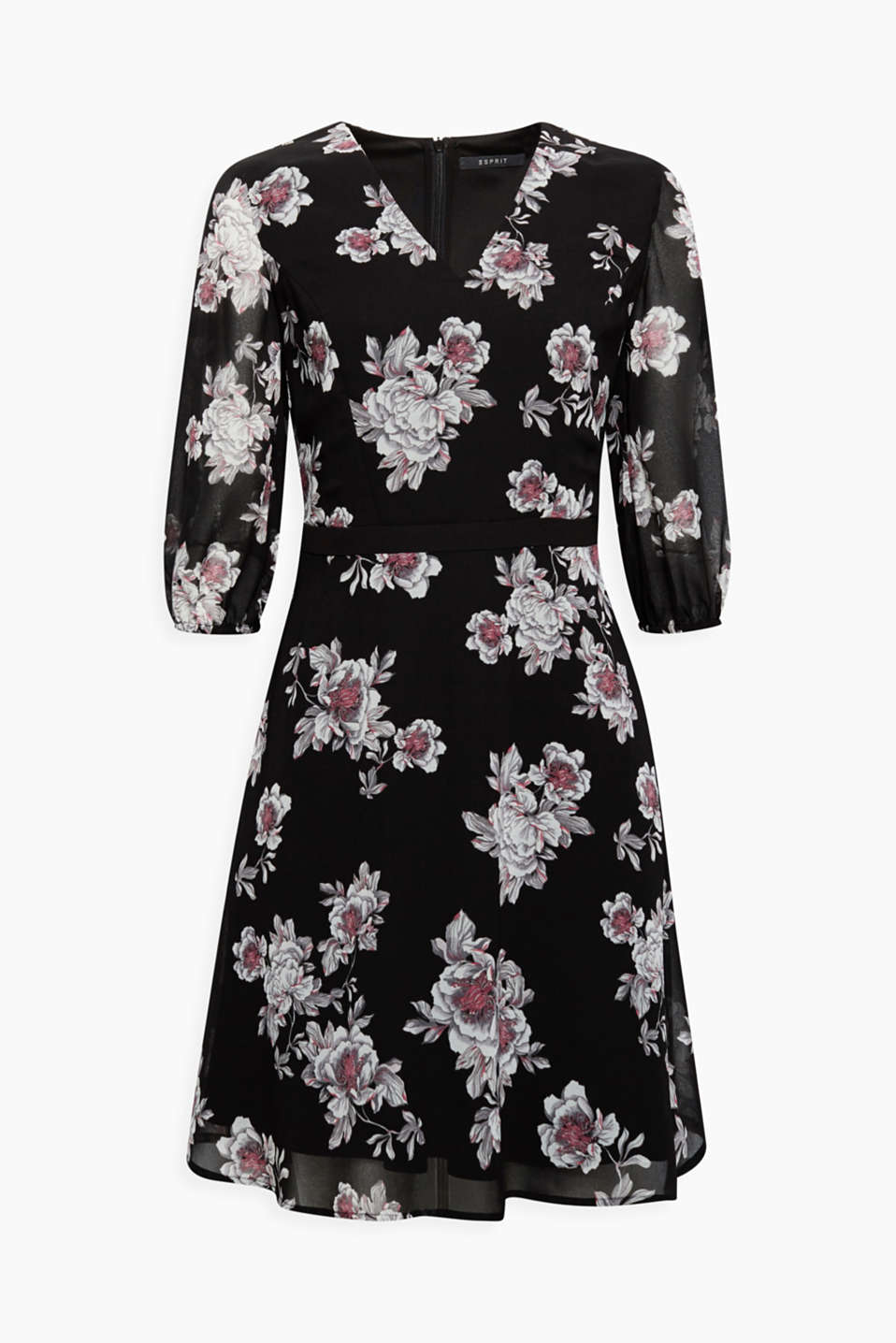 Feminine and festive - this lightweight chiffon dress with a delicate floral print can be worn on a variety of occasions!