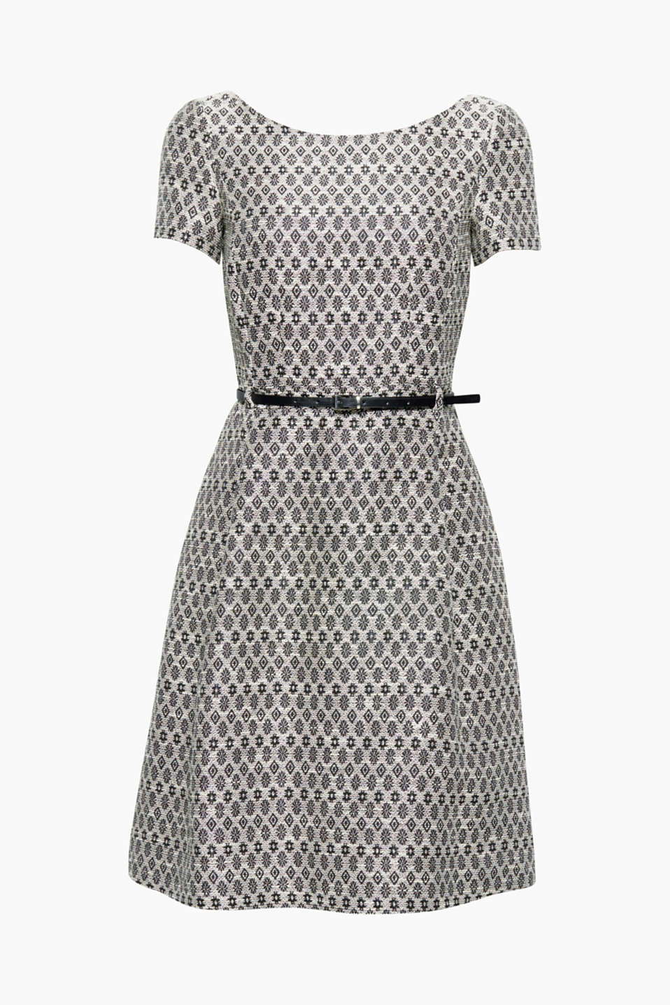 Patterns are always re-imagined as proven by this elegant jacquard dress with a narrow belt.