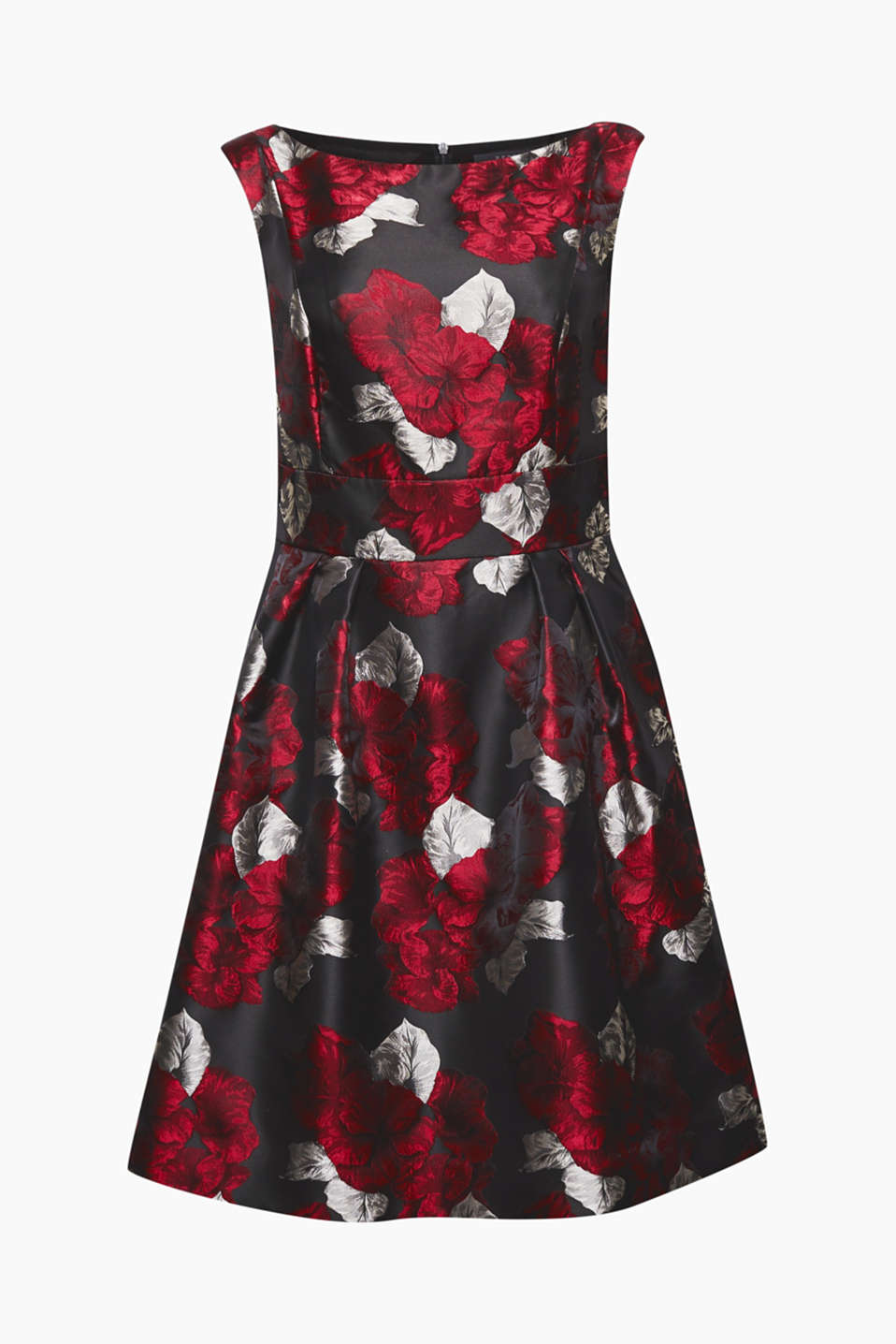 The floral pattern and shimmering finish make this dress perfect for festive occasions.