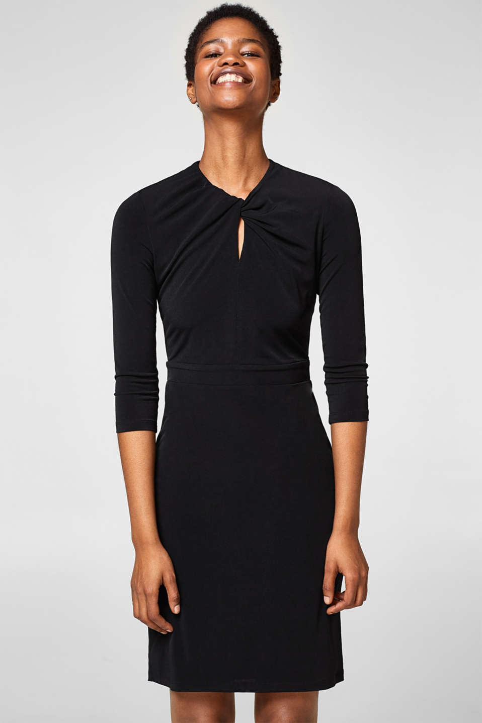 Esprit - Draped-effect stretch jersey dress