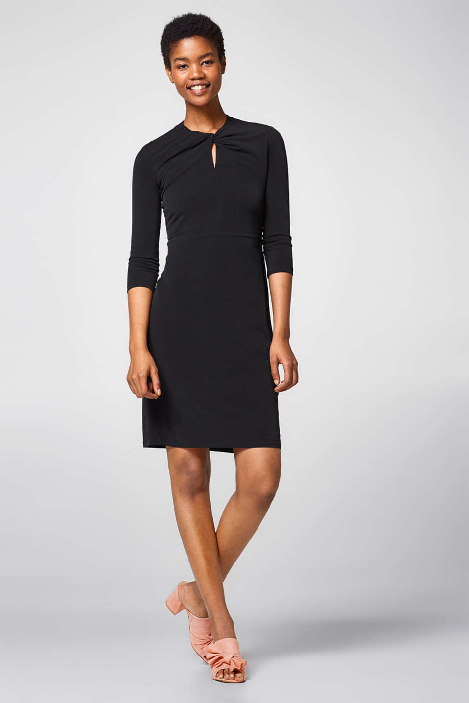 Draped-effect stretch jersey dress